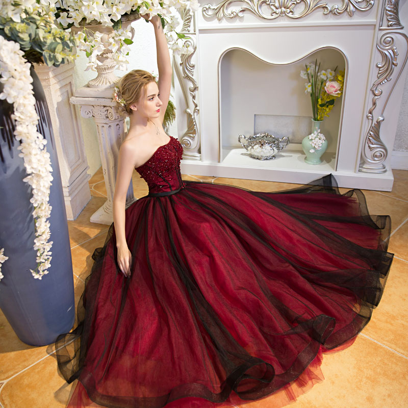 Renaissance Medieval 2017 Wedding Dresses A Line Burgundy: Aliexpress.com : Buy 100%real Major Beading Wine Red Black