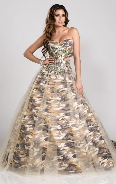 Free Shipping Strapless Military Ball Gown Camo Formal Long Prom