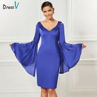 Dressv v neck elegant indigo cocktail dress knee length sheath long sleeves wedding party formal dress 2017 cocktail dresses