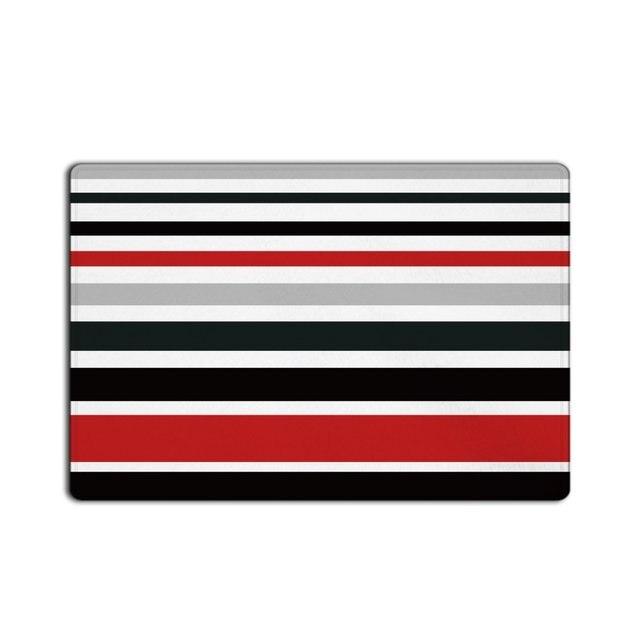 Irregular Red Black White Grey Stripes Doormat Entrance Mat Indoor/Outdoor Door  Mats Floor Mat