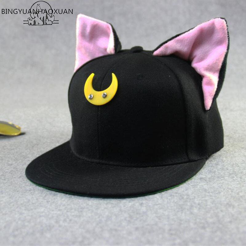 BINGYUANHAOXUAN 2018 Fashion Cartoon Snapback Caps Cat ears Hip-Hop Hat Spring and Summer Sun Benn Baseball Cap Casquette russia usa spring summer youth girl sequins leisure sunshade hat mesh campus hat sun hat female sun dance hip hop baseball