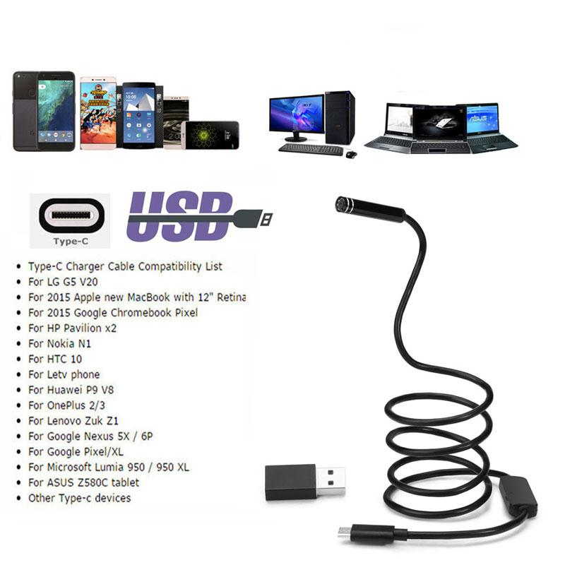 Android 8MM Micro USB Type-c USB 3-in-1 Computer Endoscope Borescope Tube MD