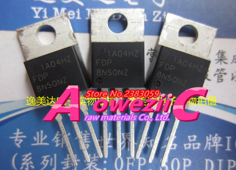 Aoweziic   100% New Imported Original  FDP8N50NZ  8N50NZ TO-220 N Channel Field Effect Transistor 500V 8A
