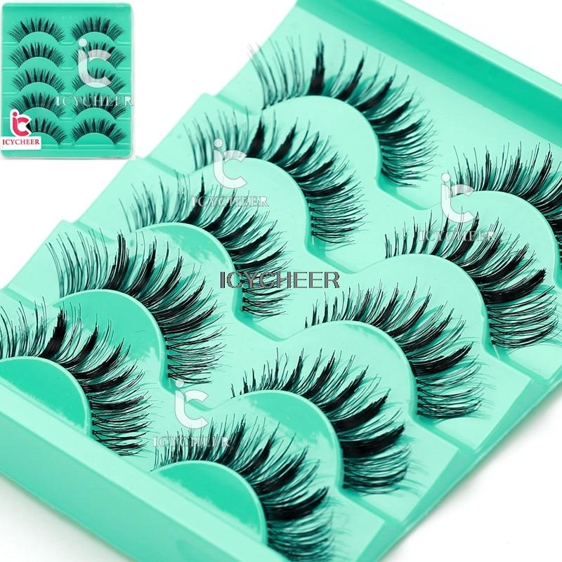 Makup 5Pair Beauty Wispies Natural Long Thick Soft Fake False Eyelashes Handmade