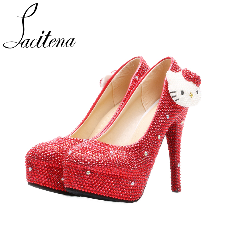 Hello Kitty Wedding Shoes Shine Crystal Red Purple Sweet