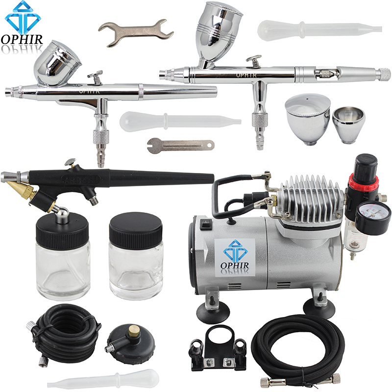 OPHIR Professional 3 Dual-Action & Single-Action Airbrush Kits w/ Air Compressor for Model Hobby Body Paint _AC089+004A+071+006 ophir pro 3 tips dual action airbrush gravity paint with air tank compressor for hobby paint temporary tattoo tanning  ac090 074