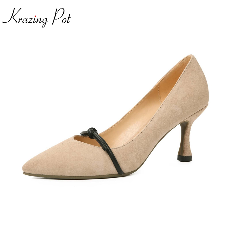 krazing Pot 2018 sheep suede spring women pumps med heels simple pointed toe solid office lady wedding shallow bowtie shoes L59 krazing pot shallow sheep suede metal buckle thick high heels pointed toe pumps princess style solid office lady work shoes l05