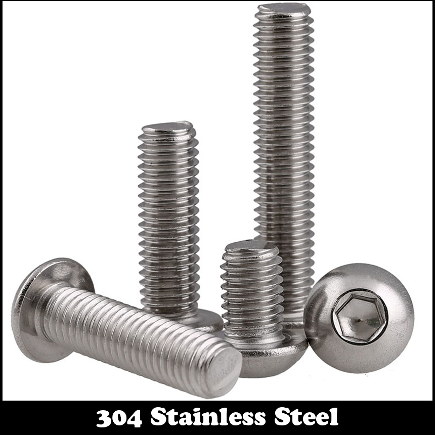 цены  5pcs M5 100mm M5*100mm 304 Stainless Steel DIN7380 Inner HEX Bolt Hexagon Socket Mushroom Round Button Head Screw