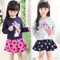 2016 Primavera crianças conjunto de roupas meninas minnie mouse roupas encabeça Pato Donald Moletons + saia Dot bebê crianças 2 pcs terno coelho