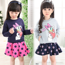 2016 Spring children girls clothing set minnie mouse clothes tops Donald Duck Sweatshirts+skirt Dot baby kids 2 pcs suit bunny
