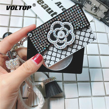 Diamond Flower Small Mirror Car Key Chain Ring Fashion Accessories Makeup Keychain Lady Bag Hanging Decoration