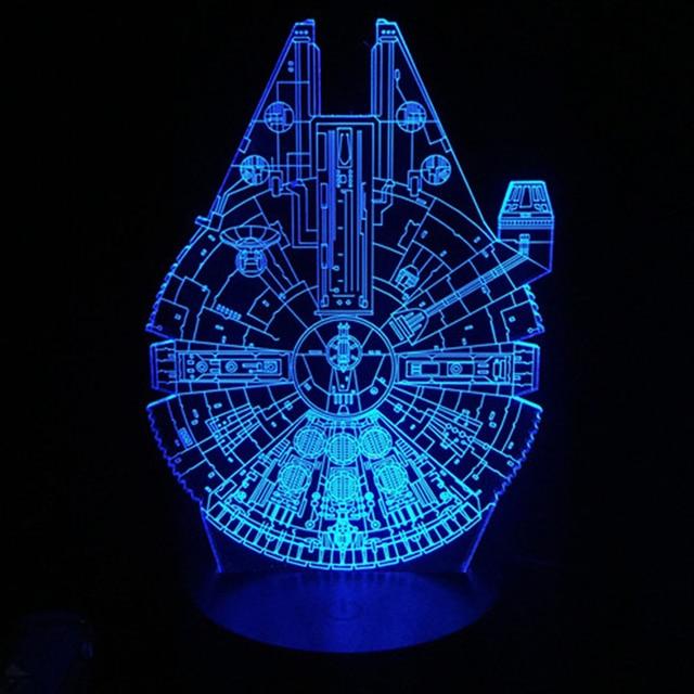 Star Wars Millennium Falcon D LED Lamp Cool Boy Bedroom Night - Cool led lights for bedroom