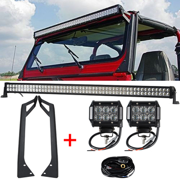 1 x 288W 50'' LED Light Bar + 2 x 18W Light Bar Work Light + YJ Windshield Mounting Brackets for Jeep Wrangler YJ 87-95 4WD SUV