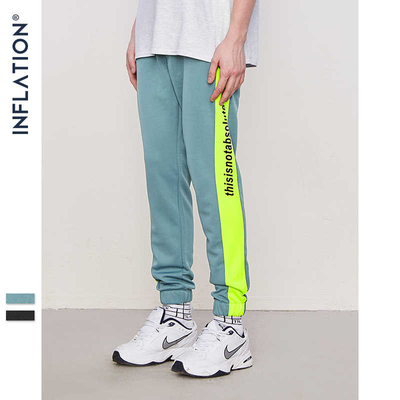 "INFLATION ""This is not absolute""Side Stripe Letter Printing Contrast Color Mens SweatPants Street New 2018 Autumn Trousers 8838W"