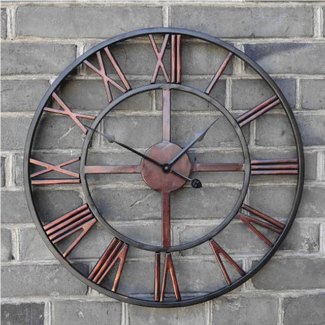 50cm Metal Large Black Roman Numeral Wall Clock Time For Home