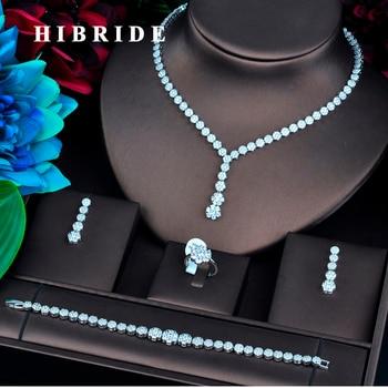HIBRIDE New Flower AAA Cubic Zircon Jewelry Sets Women Wedding Necklace Earring Ring Bracelet Jewelry Accessories N-748