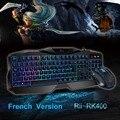 Новый Горячий Красный/Фиолетовый/Голубой Подсветкой LED Pro Gaming Клавиатура Rii RK400 Проводной USB Powered Gamer Клавиатура с мышью для LOL Dota 2