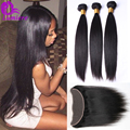 8A Lace Frontal Closure With 3Bundles Peruvian Virgin Hair Straight With Closure Human Hair Lace Frontal Closure With Baby Hair
