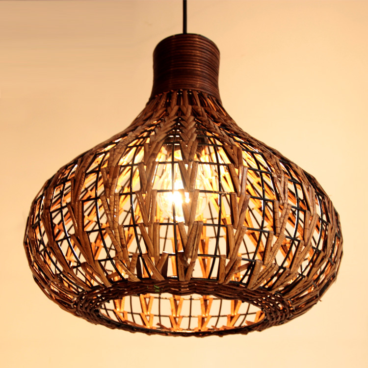 "Handmade 14"" Modern Rattan Ceiling Light Lamp Living"
