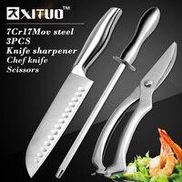 XITUO 3pcs Kitchen Sets Japanese Kitchen Knife 7 Chef Knife Stainless Steel Powerful Chicken Bone Scissors