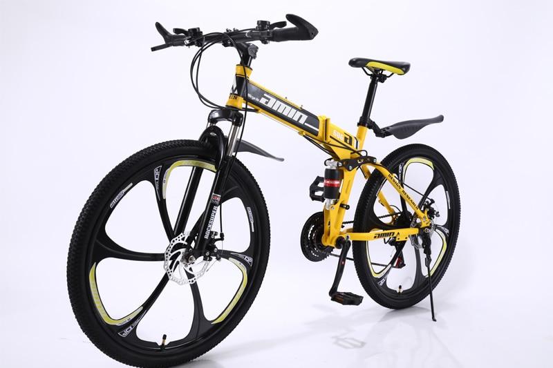 HTB1v8hgSrvpK1RjSZPiq6zmwXXa7 24 26inch folding mountain bike 21 speed double damping 6 knife wheel and 3 knife wheel bicycle double disc brakes mountain bike