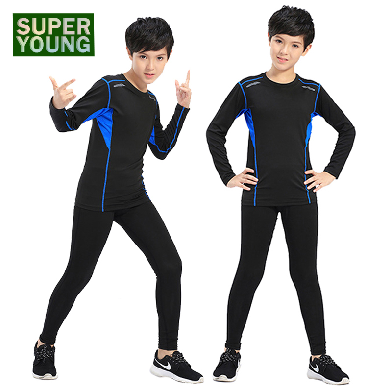 Children Sports Wear Jogging Suit Kids Running Fitness Clothes Gym Tights Men Boys Training Sportswear Compression Clothing Sets
