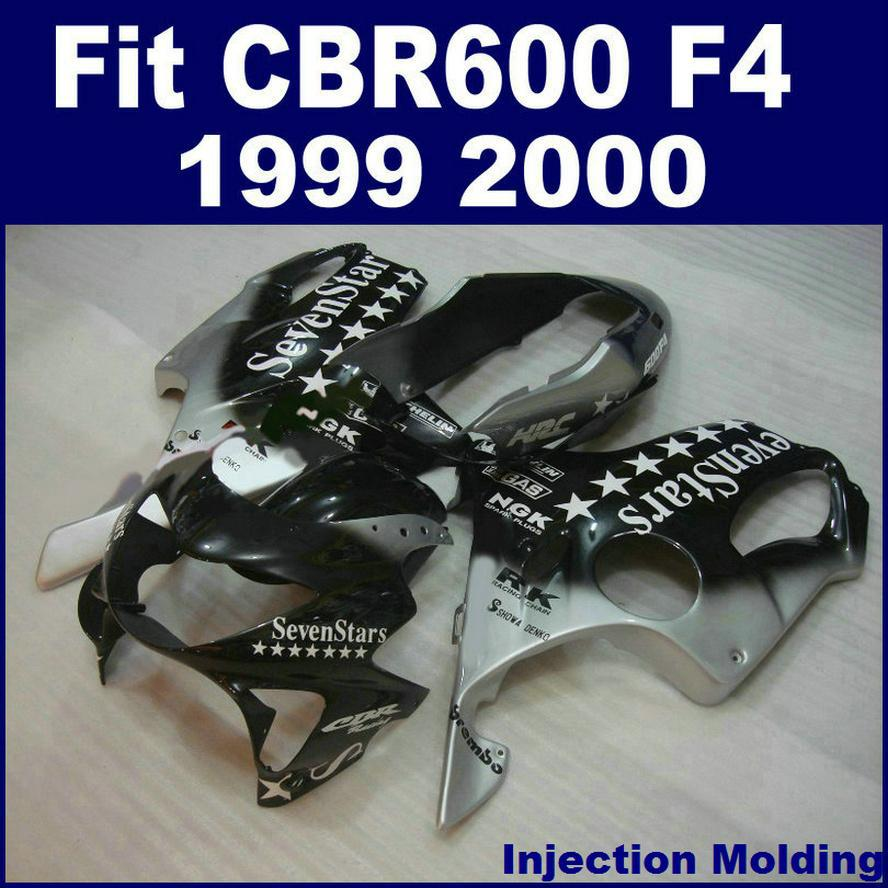 Injection Molding Parts For HONDA CBR 600 F4 1999 2000 Silver Black Stars Full Fairing Kit 99 00 CBR600 Sets ZCVG In Covers Ornamental