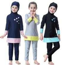 Muslim Girls 2-Piece Full Cover Love Print Conservative Hijab Burkini Swimsuit