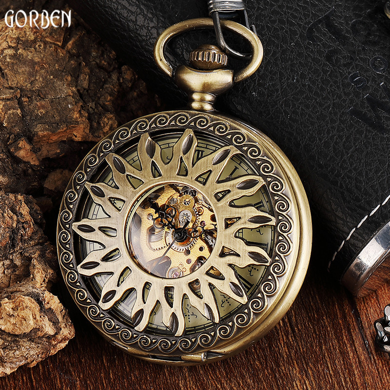 Unique Bronze Steampunk Sun Flower Hollow Design Mechanical Pocket Watch Male Clock Retro Skeleton Hand Wind Watches FOB Chain