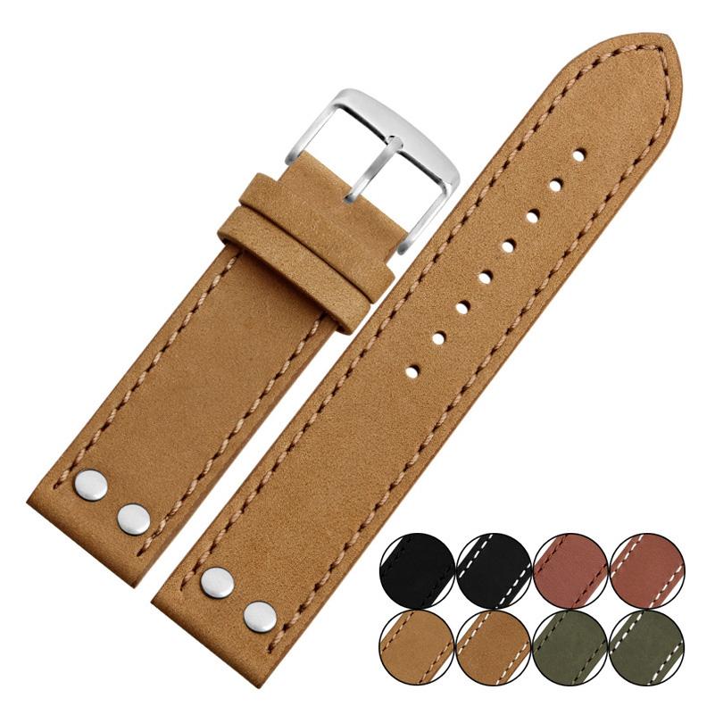 Prix pour Spécial Conception Vintage Haute Qualité Véritable Bracelet En Cuir avec Rivet Mat En Cuir Bracelets De Montre 20mm 22mm