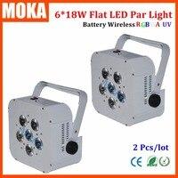 2pcs Lot RGBWA Led Light 6X18W Wireless Battery Led Par Light Uplights Dmx512 For Wedding Decoration