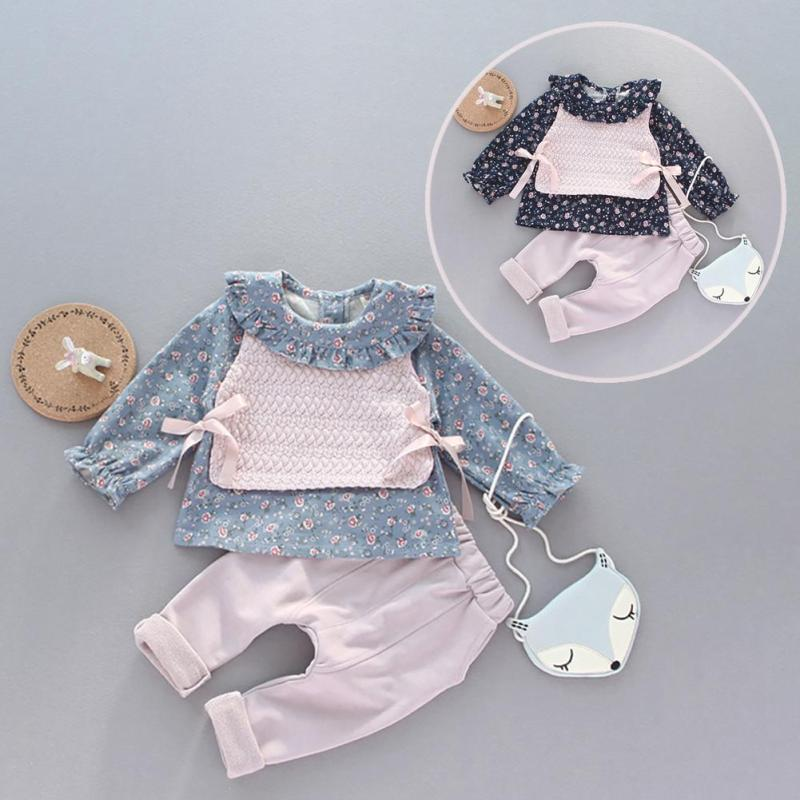 Spring autumn children clothing set toddler baby girls sports suit lovely Floral casual costume hoodies R2-16H girls clothing suit spring