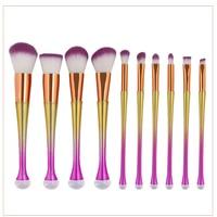 10pcs Set Colorful Mermaid Makeup Brushes Pro Eye Shadow Eyeliner Eyebrow Cosmetic Brush Set Handy Home