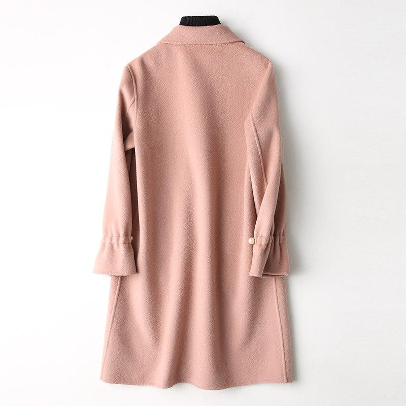 Vêtements Veste pink White Manteau Femme Laine Automne Hiver 2018 Femmes face Pardessus Cream My882 Double De Rose Coréenne ALjR54