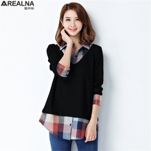 Spring Fake two blouse Women Tops Shirt Women Vintage Plaid stitching Ladies Office Blouse Korean Fashion Blusas Chemise Femme