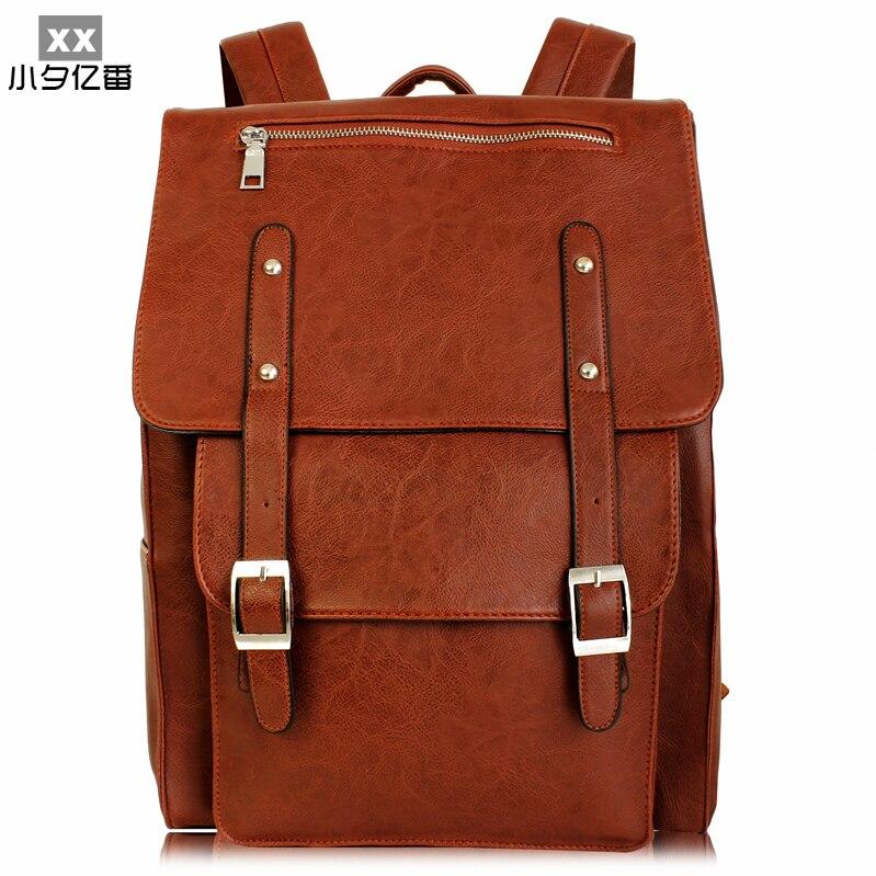 ca0aa36cb87f Дизайнерский бренд Для мужчин рюкзак 14 дюймов кожаная сумка для ноутбука  Дорожные сумки Для мужчин Водонепроницаемый школы Рюкзаки ...