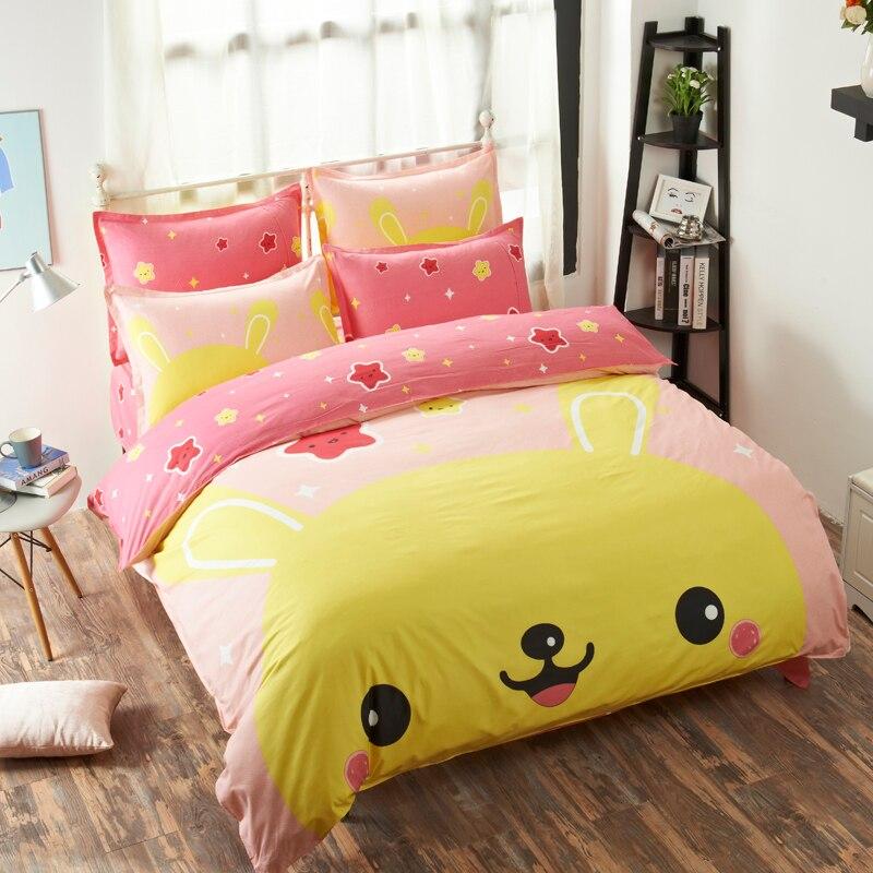 moderno pink pikachu amarillo estrellas impreso del lecho de los cabritos muchachas de los muchachos de la historieta hoja de ca