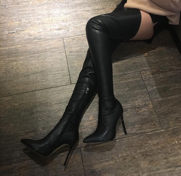 Para Mujer Punta Hoja Rodilla De Caliente Elástico Plus as Gamuza Picture Venta Invierno Del La Muslo Picture Botas Alta Sobre As Zapatos Negro fXwgxqTS