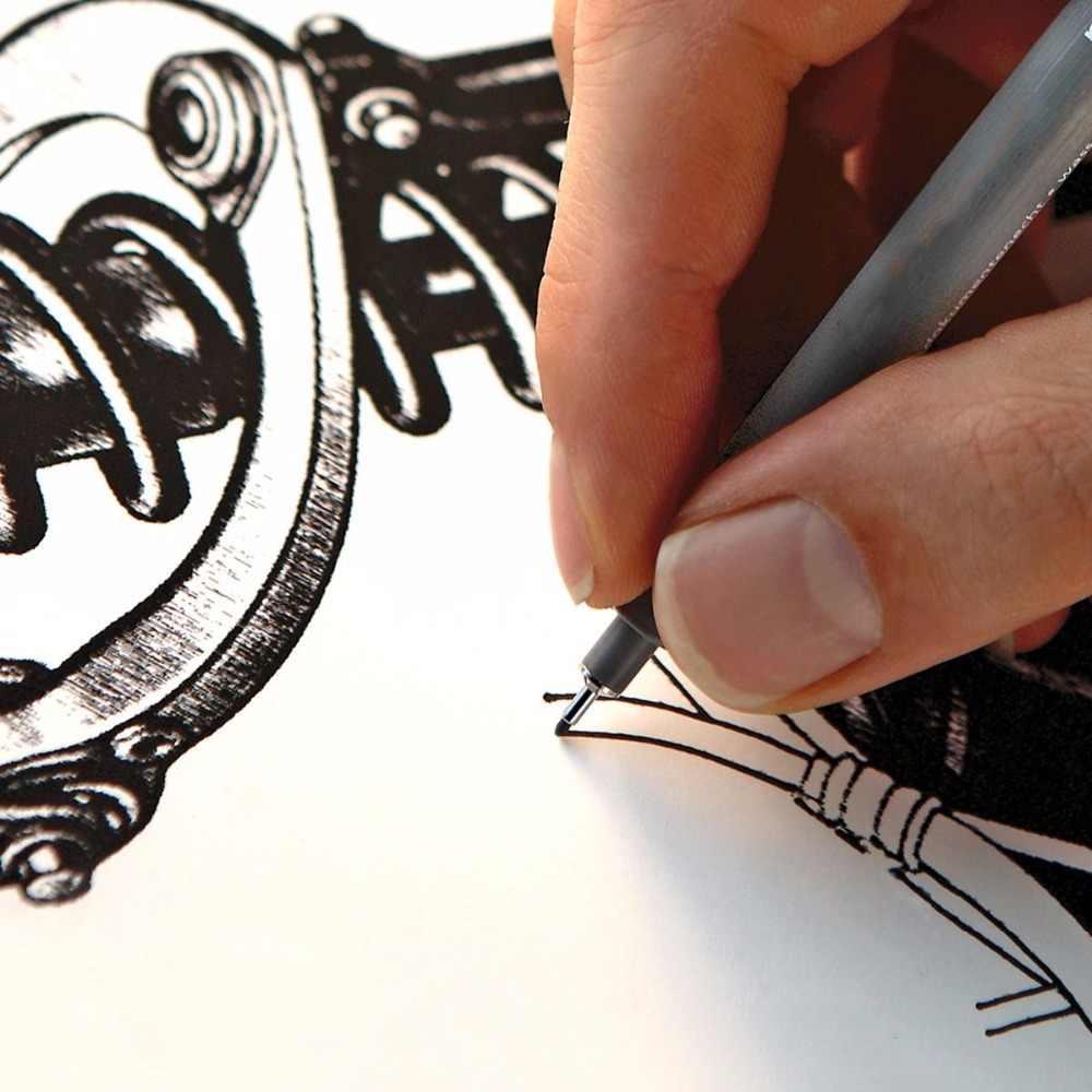 1 peça pigmento forro pigma micron caneta marcador de tinta 0.05 0.1 0.2 0.3 0.4 0.5 0.6 0.8 ponta diferente preto fineliner esboçar canetas