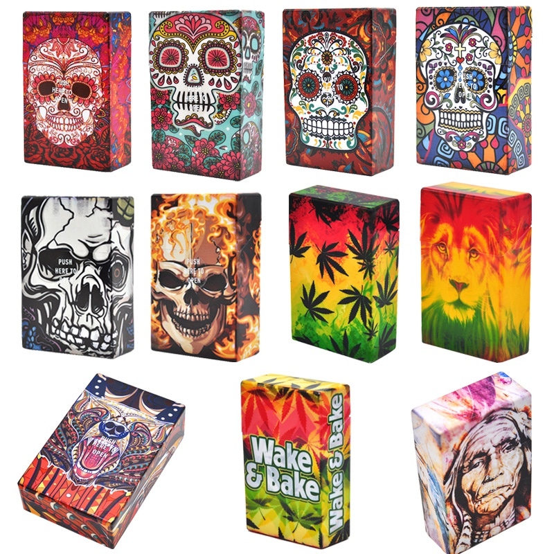 Fancy Design Skull Plastic Soft Portable Cigarette Cases For 20 Cigarette Accessories Men Women Gift Lighters Case Tobacco Box