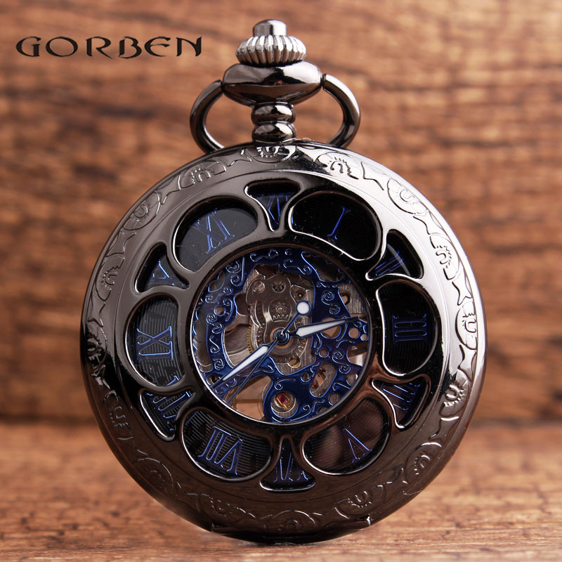Retro Black Flower Hollow Mechanical Pocket Watch For Mens Steel Steampunk Unique Womens Mens FOB Chain Pocket Watches Gifts Box retro skull death hold sickle pocket watch fashion mens womens fob chain bronze devil quartz fashion halloween funny watch gifts
