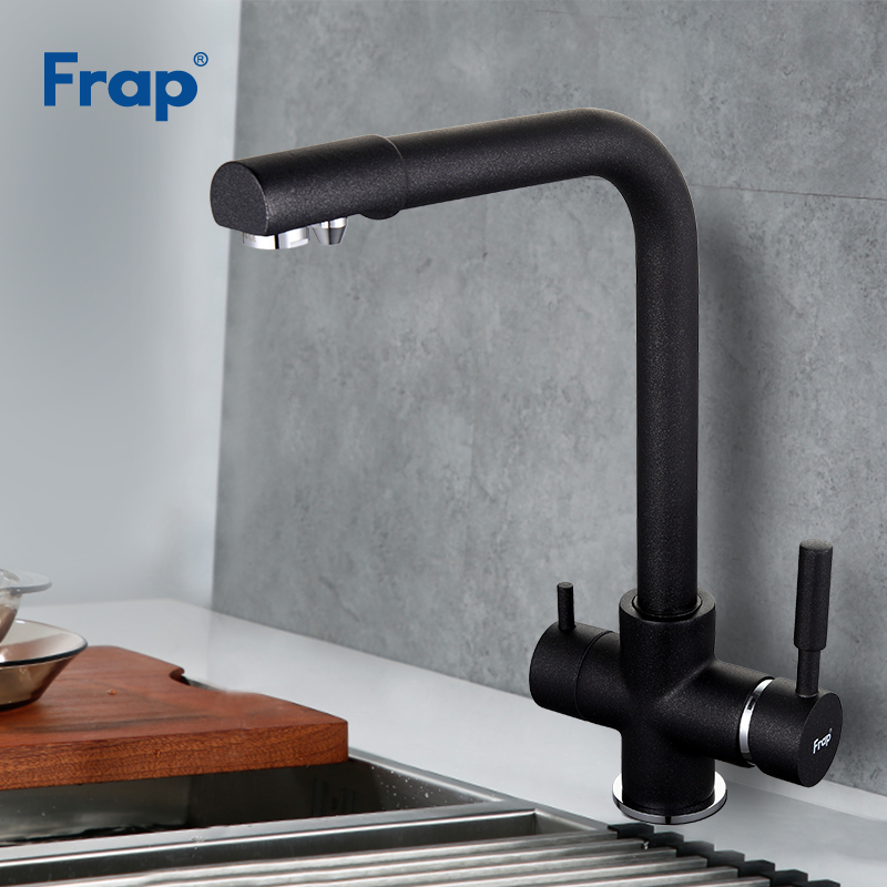 Frap New Black Kitchen Faucet Seven Letter Design 360 Degree Rotation With Water Purification Features Double Handle F4352-7