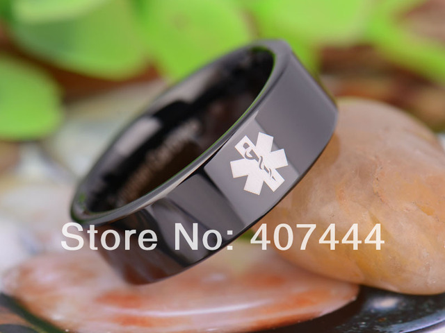 Free Shipping YGK JEWELRY Hot Sales 8MM Black Pipe Medical Alert Lord New Men's Tungsten Carbide Wedding Ring