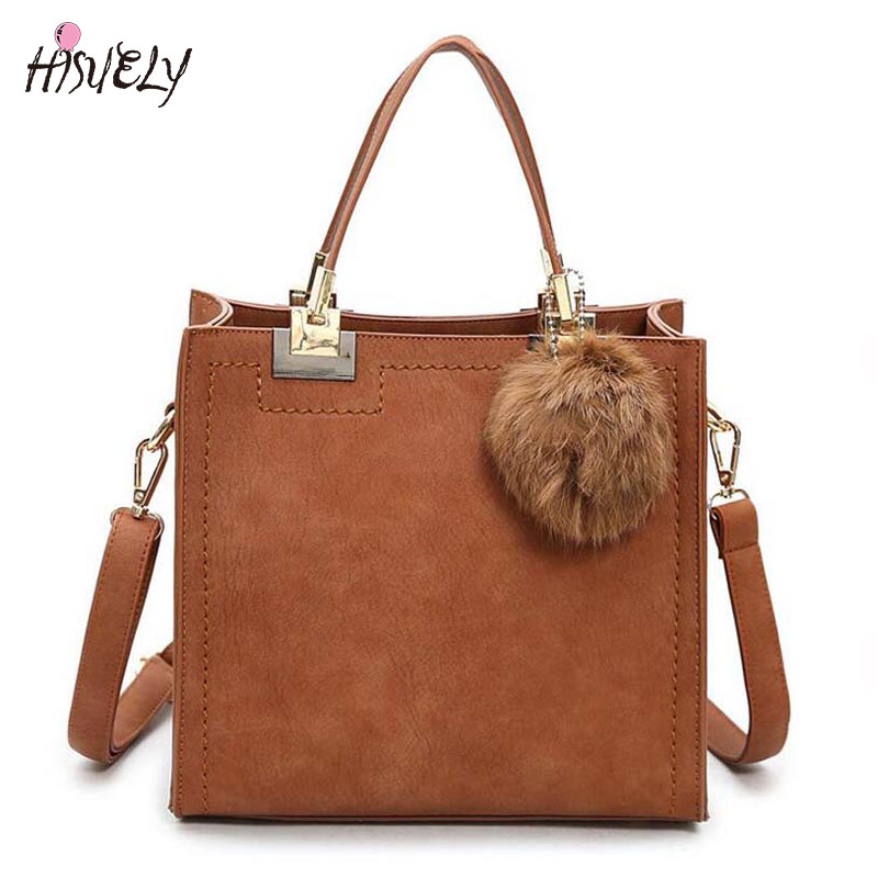 New Fashion Women PU Leather Shoulder Bag Female Flap Handbag Messenger Bags Ladies crossbody bag Cute Girls Fashion Hair Ball