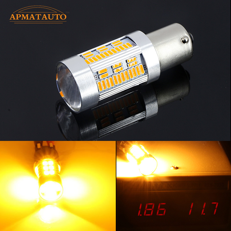 2pcs No Resistor Amber Yellow 105 Chip LED BAU15S 7507 PY21W 1156PY LED Bulbs For Front Rear Turn Signal Lights (No Hyper Flash) 2pcs canbus bau15s py21w error free 1156py amber yellow 36 led 5730smd 7507 bulbs indicator front rear turn signal light