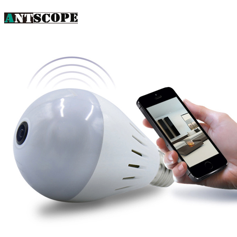 Antscope 2MP 1080P Lamp Bulb Light Wireless IP Camera Wifi Home Security Fisheye 360 Panoramic P2P Audio Surveillance Camara new hd 3mp led bulb light wireless camera fisheye panoramic wifi network ip home security camera system for ios android p2p