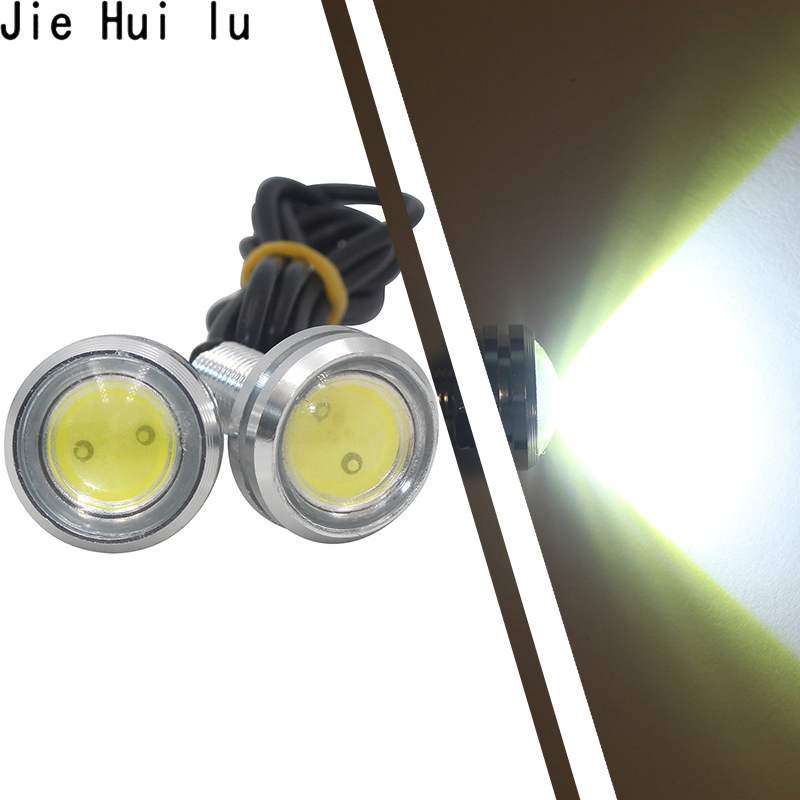 1Pcs LED drl eagle eye 23mm waterproof cob 12v 9w led car light daytime running lights styling auto fog lights parking Backup cyan soil bay 2pcs white 12 4014 smd led eagle eye motorcycle car parking fog backup light drl lamp 23mm