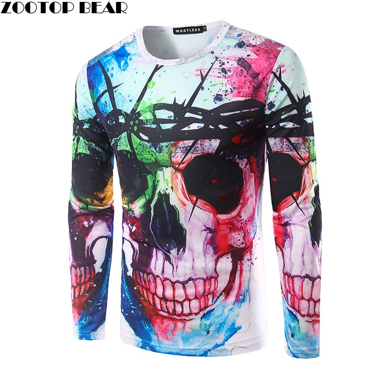 3D T shirts Men Skull Printed Tops Long Sleeve Autumn Spring Splashed paint ink T-shirt Funny Character Fashion 2017 ZOOTOP BEAR