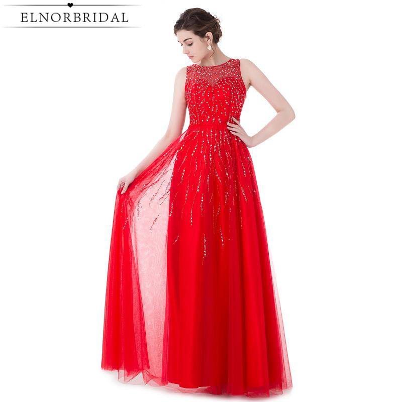 Red Beading Prom Dresses Long 2017 Vestido Formatura Sheer Special Occasion Party Dress Formal Women Evening Gowns