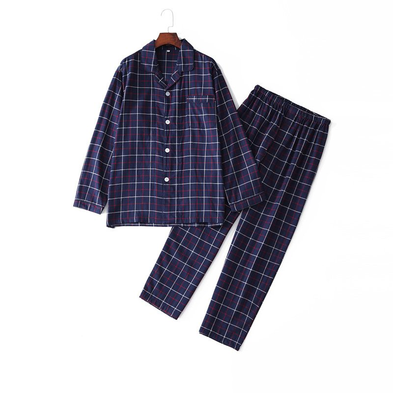 2019 Autmn Plus Size Pijamas Men Casual Plaid Pajama Sets Male 100% Cotton Sleepwear Suit Men's Turn-down Collar Shirt & Pants(China)